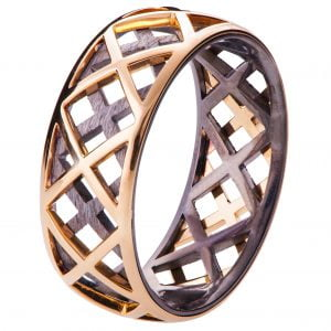 Men's Wedding Band Rose Gold Grid 5