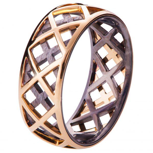 Men's Wedding Band Rose Gold Grid