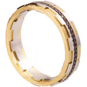 Men's Wedding Band Yellow Gold and Black Diamonds BNG18B
