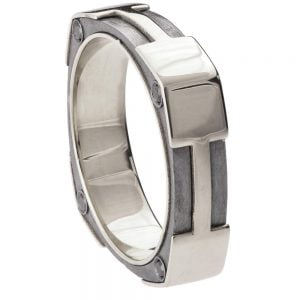 Men's Wedding Band Platinum and Black Diamonds BNG20
