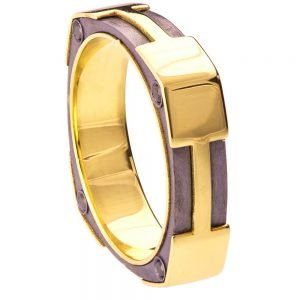 Men's Wedding Band Yellow Gold and Black Diamonds BNG20