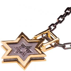 Men's Pendant Yellow Gold and Black Diamonds Star of David