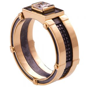 Men's Signet Ring Rose Gold and Diamonds BNG15