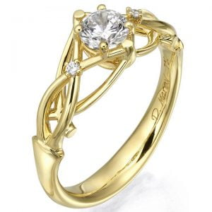 Celtic Engagement Ring Yellow Gold and Diamonds ENG9