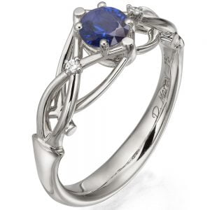 Celtic Engagement Ring Platinum Sapphire and Diamonds ENG9