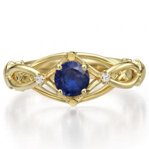 Celtic Engagement Ring Yellow Gold Sapphire and Diamonds ENG9