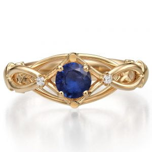 Celtic Engagement Ring Rose Gold Sapphire and Diamonds ENG9
