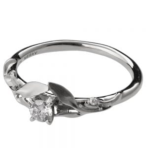 Leaves Engagement Ring #13 White Gold and Diamond