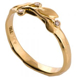 Leaves Ring #9D Yellow Gold Diamond Ring