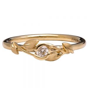 Leaves Engagement Ring #14 Yellow Gold and Diamond