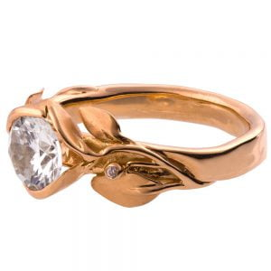 Leaves Engagement Ring #10 Rose Gold and Moissanite