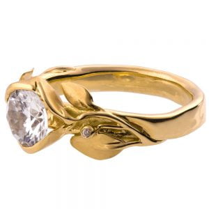 Leaves Engagement Ring #10 Yellow Gold and Moissanite