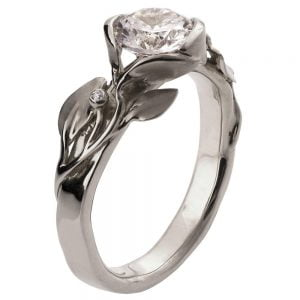 Leaves Engagement Ring #10 White Gold and Moissanite