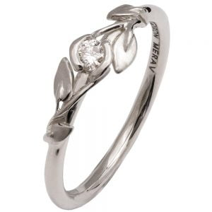 Leaves Engagement Ring #14 Platinum and Diamond