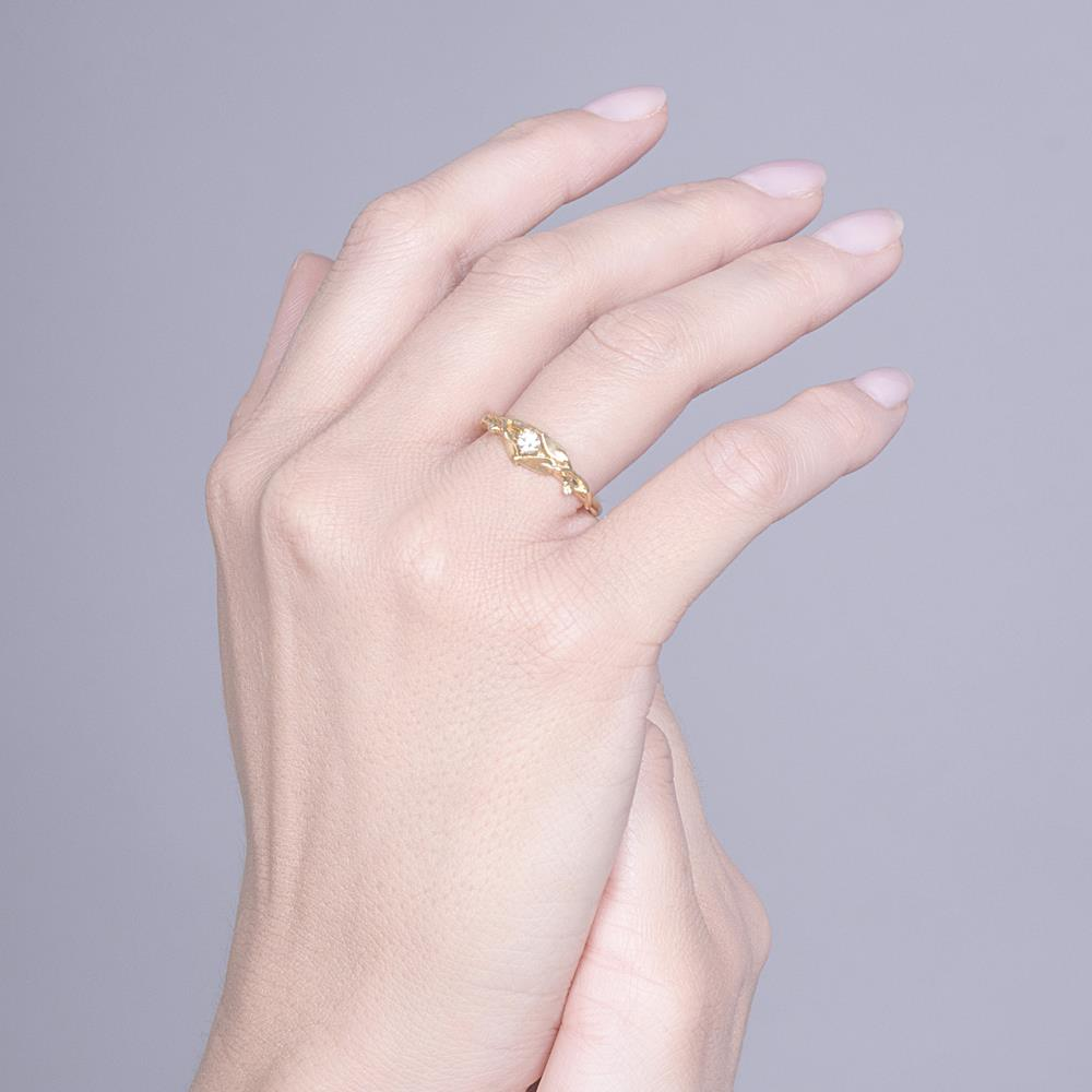 Leaves Engagement Ring #13 Yellow Gold and Diamond - Doron Merav