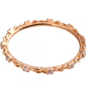 Braided Wedding Band Rose Gold and Diamonds E1