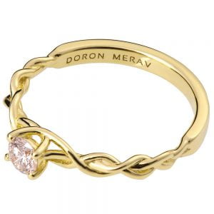 Braided Engagement Ring Yellow Gold and Diamond 2S