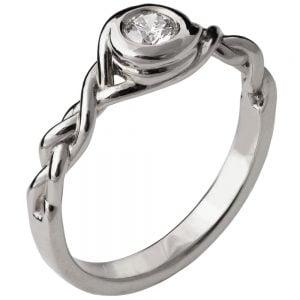 Braided Engagement Ring White Gold and Diamond 5