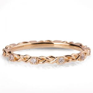 Braided Wedding Band Yellow Gold and Diamonds E1