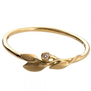 Leaves Ring #1D Yellow Gold Diamond Ring