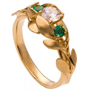 Leaves Engagement Ring #8 Yellow Gold Diamond and Emeralds