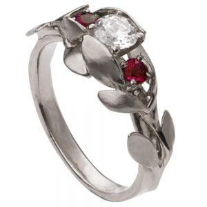 Leaves Engagement Ring #8 Platinum and Diamond and Rubies