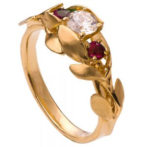 Leaves Engagement Ring #8 Yellow Gold Diamond and Rubies