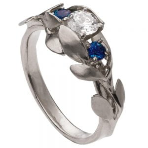 Leaves Engagement Ring #8 Platinum and Diamond and Sapphires