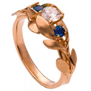Leaves Engagement Ring #8 Rose Gold Diamond and Sapphires