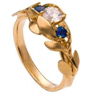 Leaves Engagement Ring #8 Yellow Gold Diamond and Sapphires