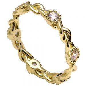 Braided Wedding Band Yellow Gold and Diamonds E2