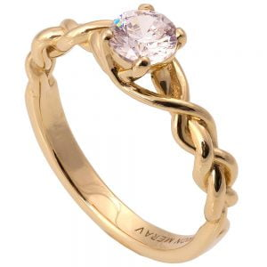 Braided Engagement Ring Yellow Gold and Diamond 2