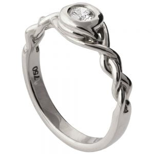 Braided Engagement Ring White Gold and Diamond 5