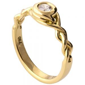 Braided Engagement Ring Yellow Gold and Diamond 5