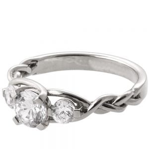 Braided Three Stone Engagement Ring Platinum and Diamonds 7