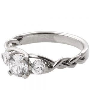 Braided Three Stone Engagement Ring Platinum and Diamonds 7
