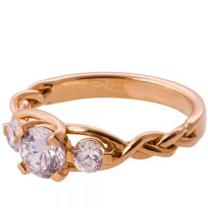 Braided Three Stone Engagement Ring Rose Gold and Diamonds 7