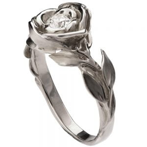 Rose Engagement Ring #1 Platinum and Diamond
