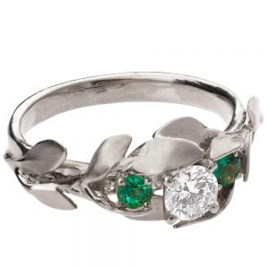 Leaves Engagement Ring #8 Platinum and Diamond and Emeralds
