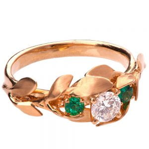 Leaves Engagement Ring #8 Rose Gold Diamond and Emeralds