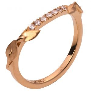 Leaves Ring #3 Rose Gold and Diamond