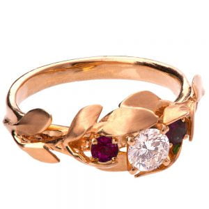 Leaves Engagement Ring #8 Rose Gold Diamond and Rubies