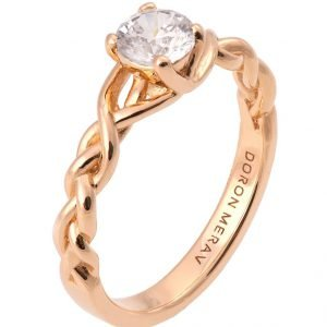 Braided Engagement Ring Rose Gold and Diamond 2