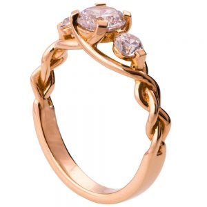 Braided Three Stone Engagement Ring Rose Gold and Diamonds 7