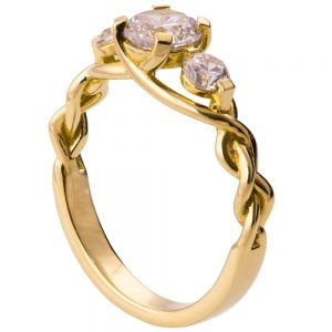 Braided Three Stone Engagement Ring Yellow Gold and Diamonds 7