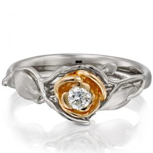 Rose Engagement Ring #3 Two Tone Rose Gold and Diamond