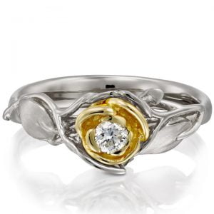 Yellow Gold Two Tone Rose Engagement Ring Set With Diamond