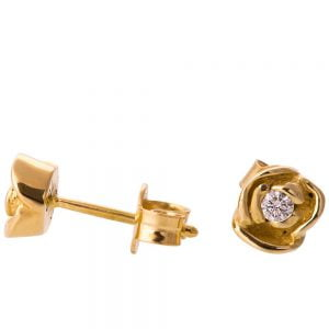 Rose Earrings Yellow Gold and Diamonds