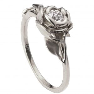 Rose Engagement Ring #4 White Gold and Diamond