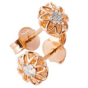 Celtic Earrings Rose Gold and Diamonds e001